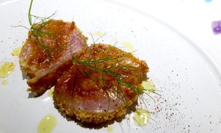 Piatto di Giuliano Baldessari Chef Stellato Ristorante Aqua Crua