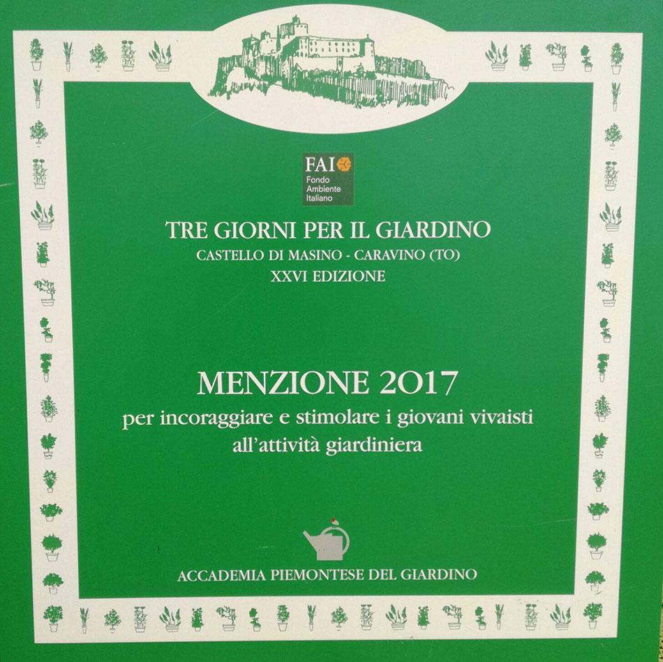Riconoscimenti e premi produzione e vendita online for Tre giorni per il giardino 2017