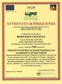 Geel Floricultura - Attestato Corso Bernardi Gigliola