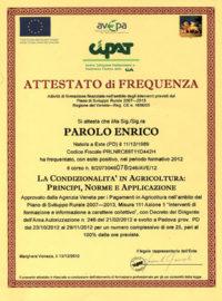 Geel Floricultura - Attestato Corso Parolo Enrico