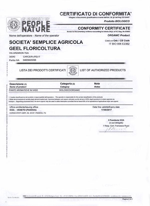 Geel Floricultura. Certificato di conformità ICEA piante aromatiche biologiche